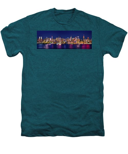 New York City Nyc Midtown Manhattan At Night Men's Premium T-Shirt by Jon Holiday