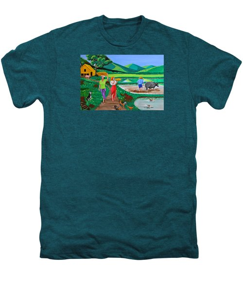One Beautiful Morning In The Farm Men's Premium T-Shirt by Cyril Maza