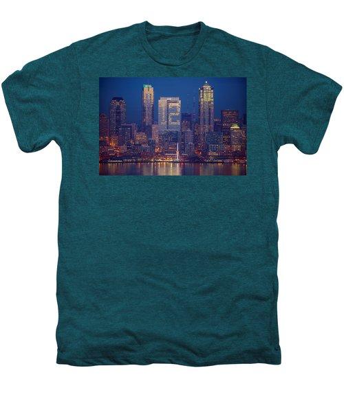 Seahawks 12th Man Seattle Skyline At Dusk Men's Premium T-Shirt by Mike Reid