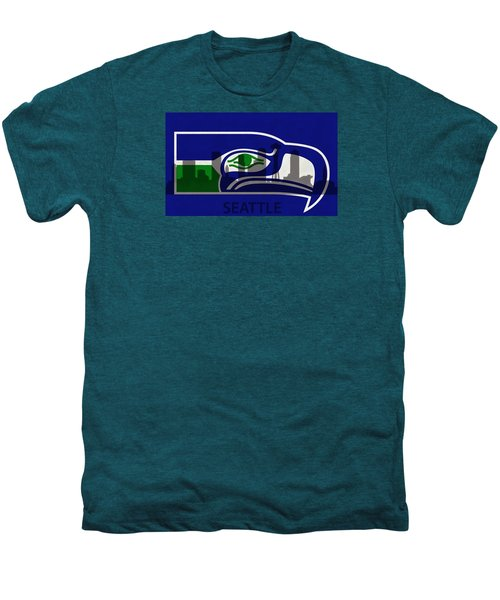 Seattle Seahawks On Seattle Skyline Men's Premium T-Shirt by Dan Sproul