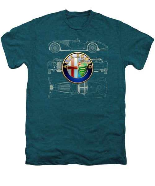 Alfa Romeo 3 D Badge Over 1938 Alfa Romeo 8 C 2900 B Vintage Blueprint Men's Premium T-Shirt