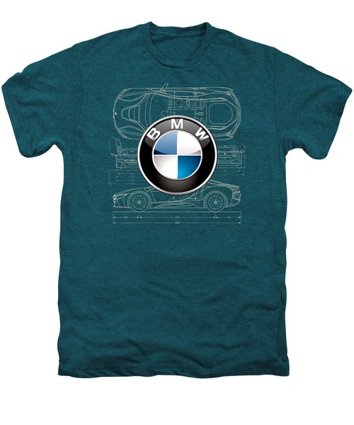 B M W 3 D Badge Over B M W I8 Blueprint  Men's Premium T-Shirt