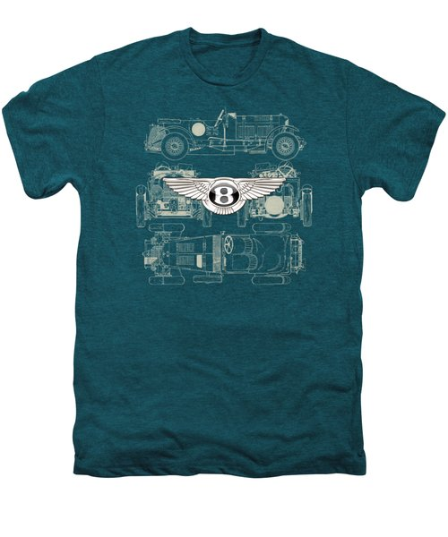 Bentley - 3 D Badge Over 1930 Bentley 4.5 Liter Blower Vintage Blueprint Men's Premium T-Shirt