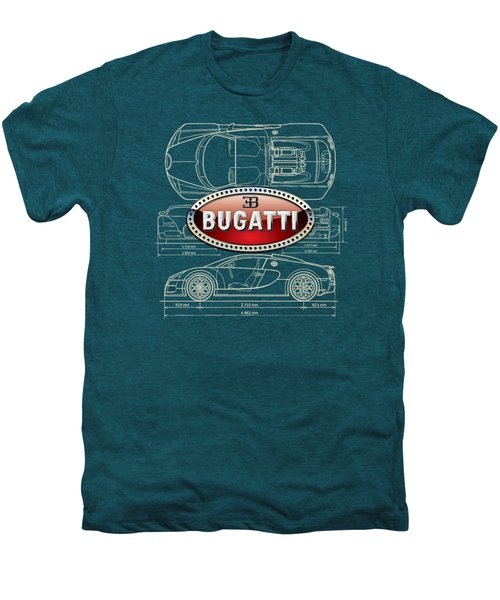 Bugatti 3 D Badge Over Bugatti Veyron Grand Sport Blueprint  Men's Premium T-Shirt by Serge Averbukh