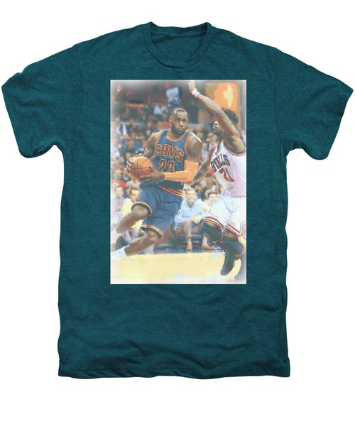 Cleveland Cavaliers Lebron James 2 Men's Premium T-Shirt by Joe Hamilton