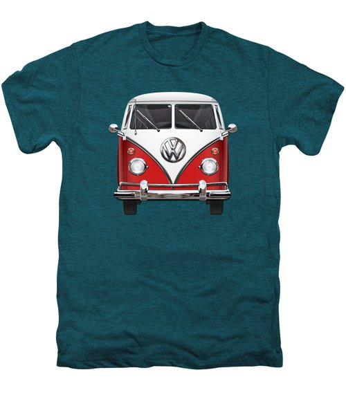 Volkswagen Type 2 - Red And White Volkswagen T 1 Samba Bus Over Green Canvas  Men's Premium T-Shirt by Serge Averbukh