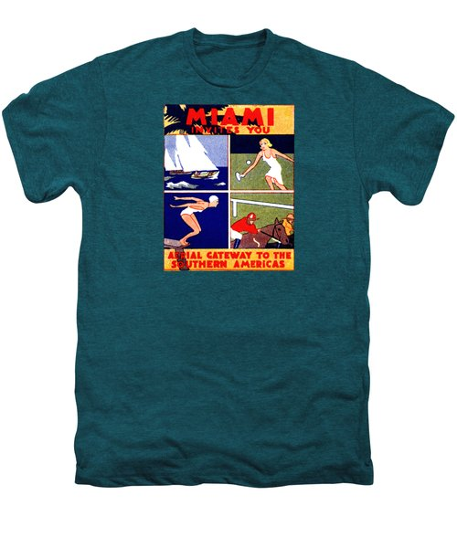 1925 Miami Travel Poster Men's Premium T-Shirt