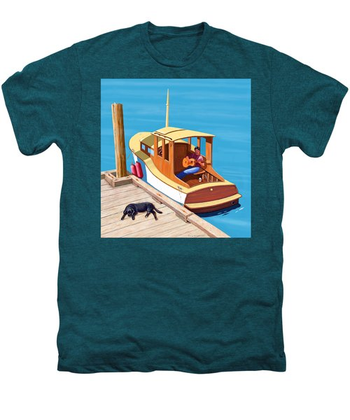 A Man, A Dog And An Old Boat Men's Premium T-Shirt
