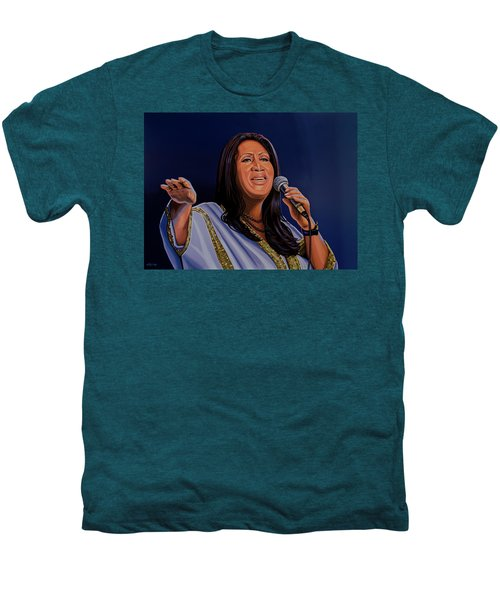 Aretha Franklin Painting Men's Premium T-Shirt by Paul Meijering