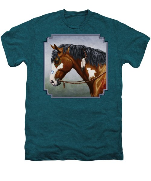 Bay Native American War Horse Men's Premium T-Shirt by Crista Forest