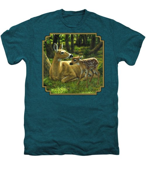 Whitetail Deer - First Spring Men's Premium T-Shirt by Crista Forest