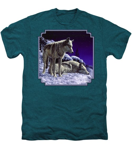 Wolf Painting - Night Watch Men's Premium T-Shirt by Crista Forest