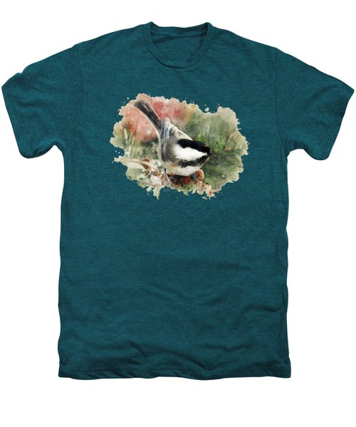 Beautiful Chickadee - Watercolor Art Men's Premium T-Shirt