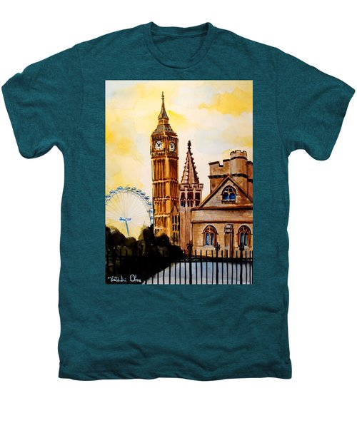 Big Ben And London Eye - Art By Dora Hathazi Mendes Men's Premium T-Shirt by Dora Hathazi Mendes