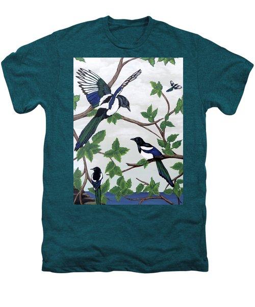 Black Billed Magpies Men's Premium T-Shirt by Teresa Wing