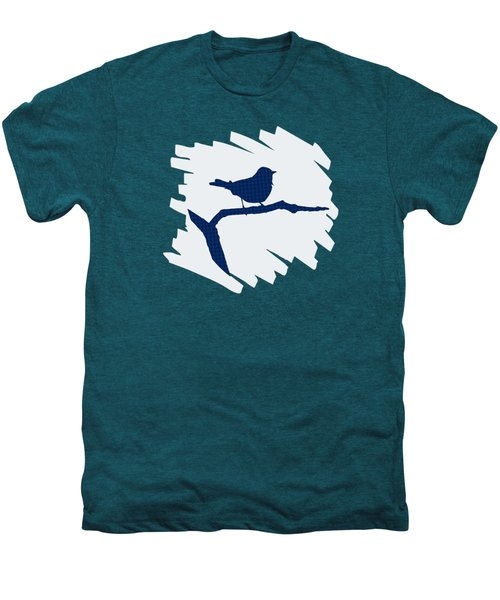 Blue Bird Silhouette Modern Bird Art Men's Premium T-Shirt by Christina Rollo
