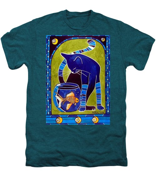 Blue Cat With Goldfish Men's Premium T-Shirt by Dora Hathazi Mendes