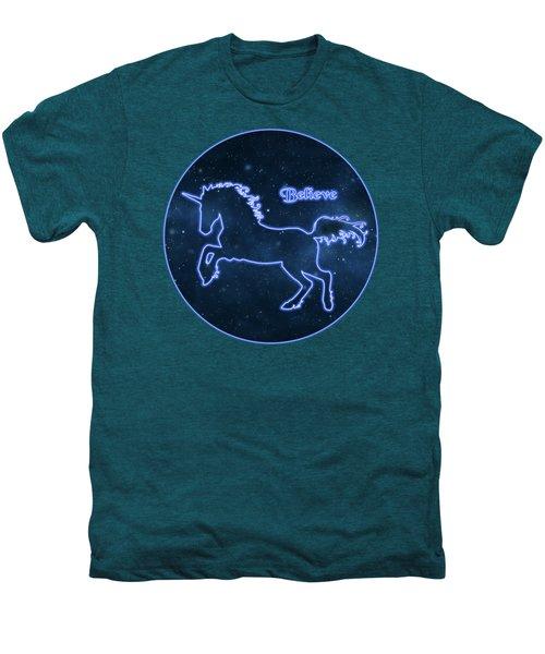 Blue Neon Light Unicorn Text Believe Men's Premium T-Shirt by Elaine Plesser