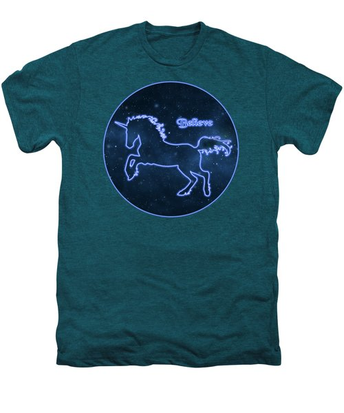 Blue Neon Light Unicorn Text Believe Men's Premium T-Shirt