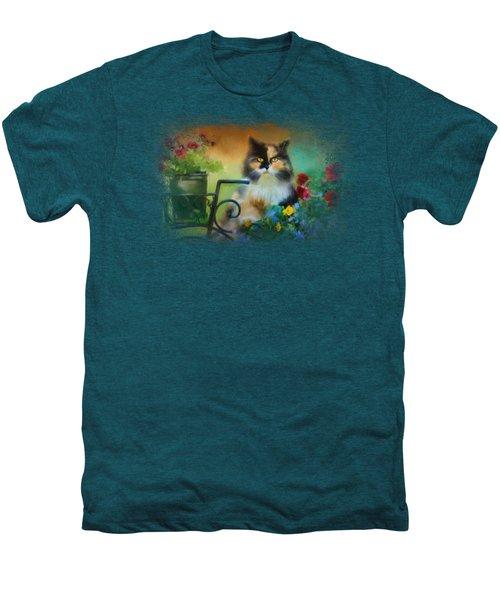 Calico In The Garden Men's Premium T-Shirt by Jai Johnson
