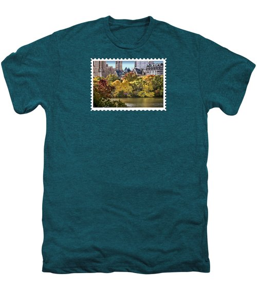 Central Park Lake In Fall Men's Premium T-Shirt by Elaine Plesser