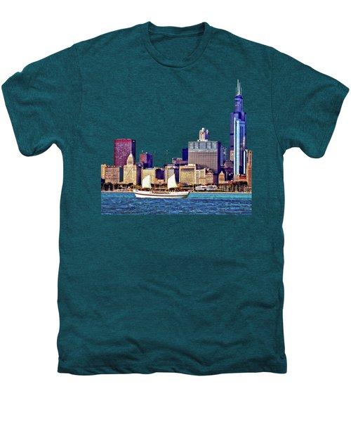 Chicago Il - Schooner Against Chicago Skyline Men's Premium T-Shirt