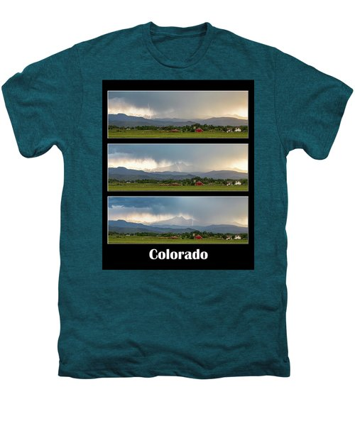 Men's Premium T-Shirt featuring the photograph Colorado Front Range Longs Peak Lightning And Rain Poster by James BO Insogna
