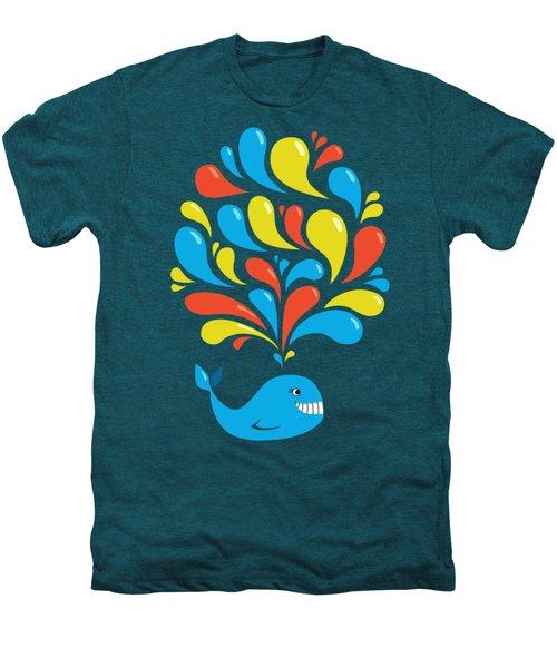 Dark Colorful Splash Happy Cartoon Whale Men's Premium T-Shirt by Boriana Giormova