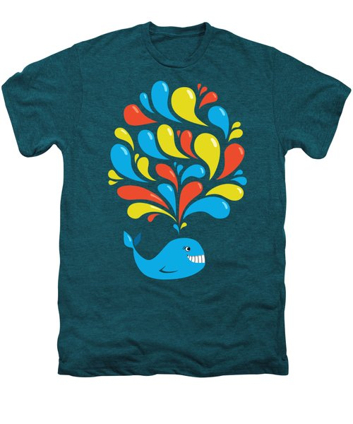 Dark Colorful Splash Happy Cartoon Whale Men's Premium T-Shirt