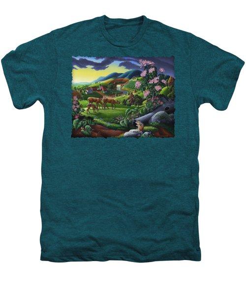 Deer Chipmunk Summer Appalachian Folk Art - Rural Country Farm Landscape - Americana  Men's Premium T-Shirt by Walt Curlee