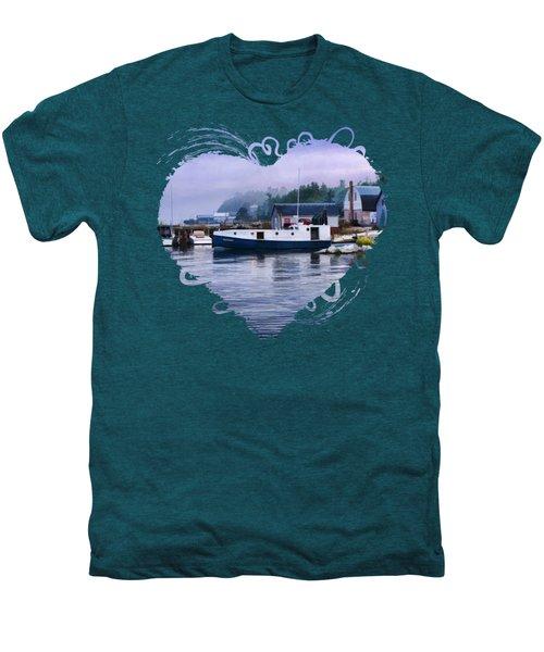 Men's Premium T-Shirt featuring the painting Door County Gills Rock Fishing Village by Christopher Arndt