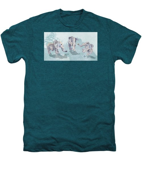Elephants In Blue Men's Premium T-Shirt by Angeles M Pomata