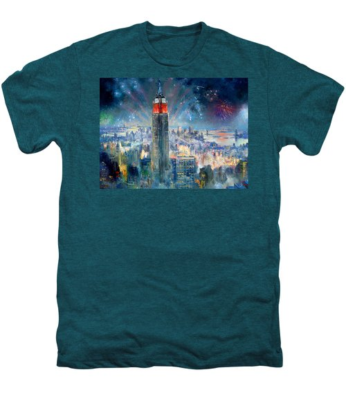 Empire State Building In 4th Of July Men's Premium T-Shirt by Ylli Haruni