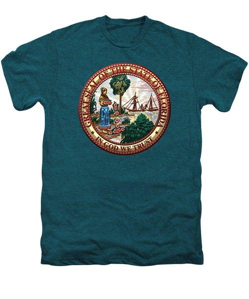 Florida State Seal Over Blue Velvet Men's Premium T-Shirt