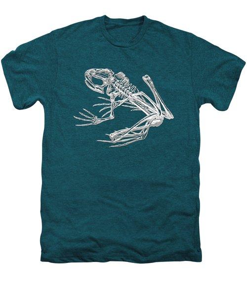 Frog Skeleton In Silver On Blue  Men's Premium T-Shirt