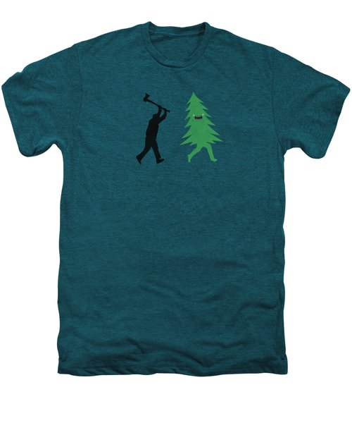 Funny Cartoon Christmas Tree Is Chased By Lumberjack Run Forrest Run Men's Premium T-Shirt by Philipp Rietz