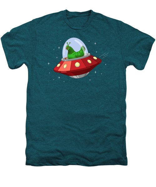 Funny Green Alien Martian Chicken In Flying Saucer Men's Premium T-Shirt