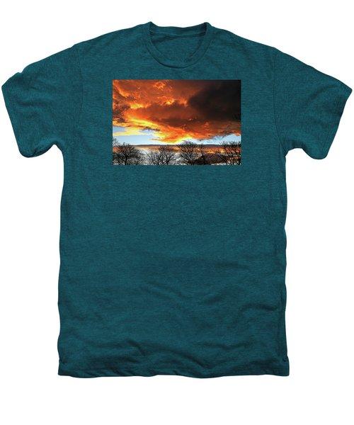 Golden Sunset With Filigree Trees Men's Premium T-Shirt