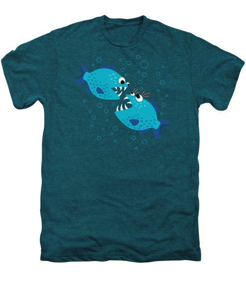 Gossiping Blue Piranha Fish Men's Premium T-Shirt
