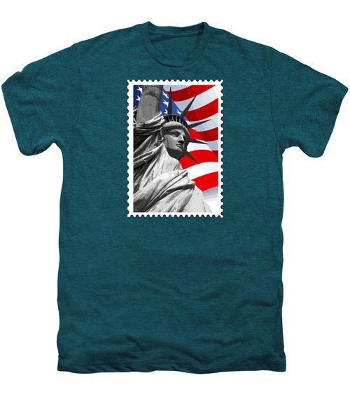Graphic Statue Of Liberty With American Flag Men's Premium T-Shirt by Elaine Plesser