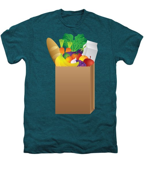 Grocery Paper Bag Of Food Illustration Men's Premium T-Shirt