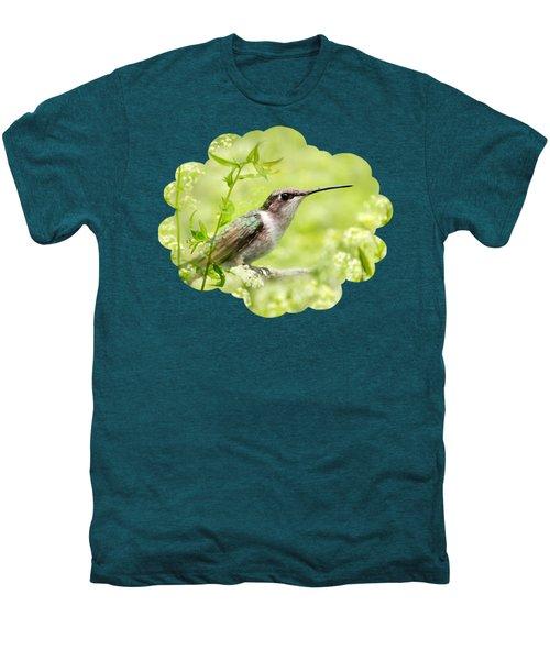 Hummingbird Hiding In Flowers Men's Premium T-Shirt by Christina Rollo