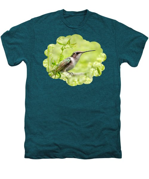 Hummingbird Hiding In Flowers Men's Premium T-Shirt