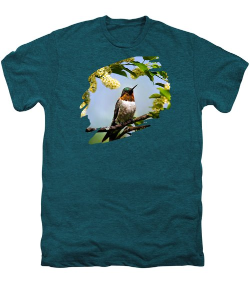 Hummingbird With Flowers Men's Premium T-Shirt
