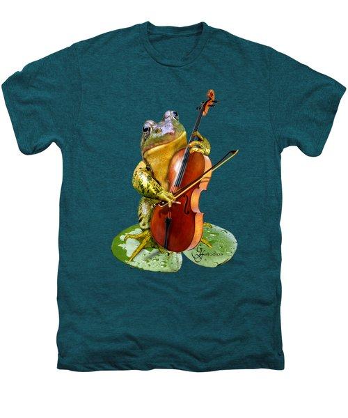 Humorous Scene Frog Playing Cello In Lily Pond Men's Premium T-Shirt by Regina Femrite