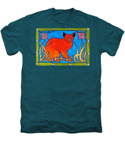Indian Cat With Lilies Men's Premium T-Shirt