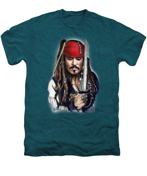 Johnny Depp As Jack Sparrow Men's Premium T-Shirt by Melanie D