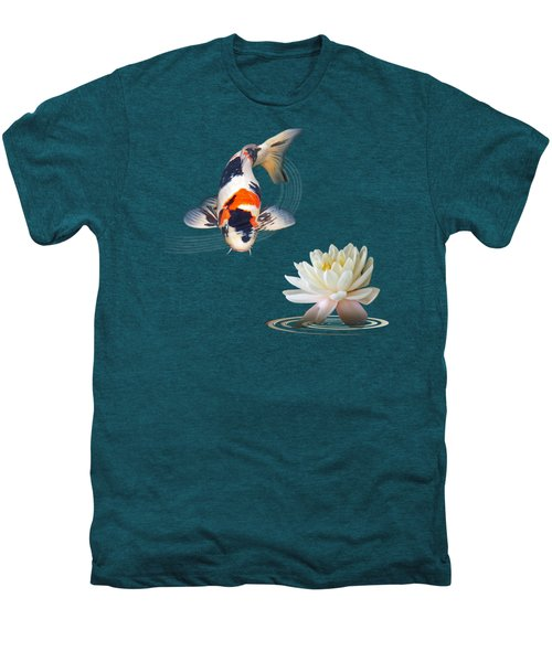 Koi Carp Abstract With Water Lily Square Men's Premium T-Shirt