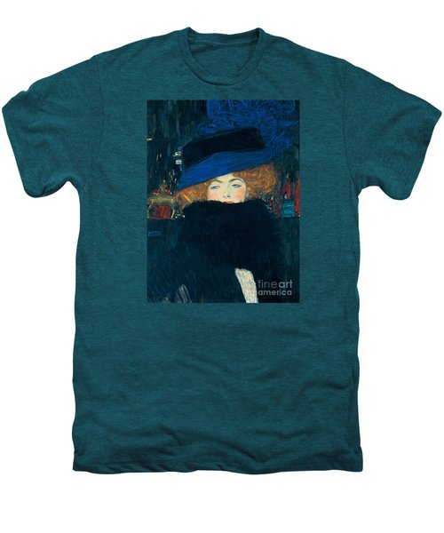 Lady With A Hat And A Feather Boa Men's Premium T-Shirt by Gustav Klimt