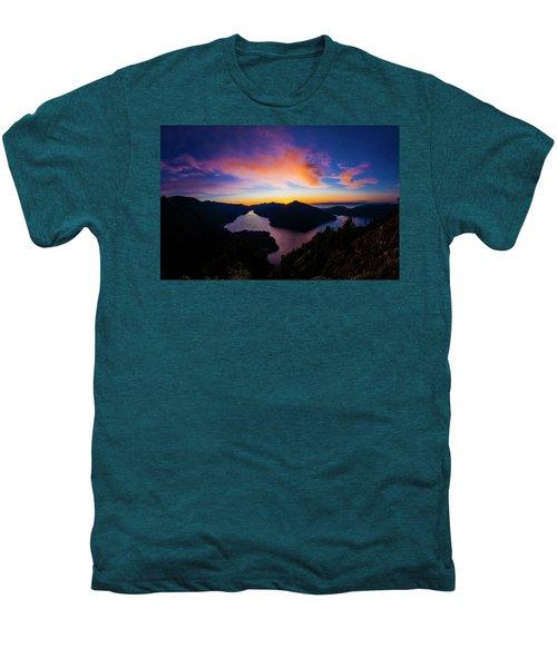 Lake Crescent Sunset Men's Premium T-Shirt by Pelo Blanco Photo